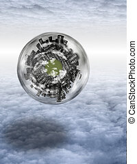 Large city sphere floats in layers of cloud