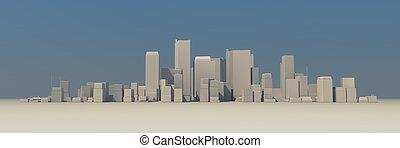 large, -, cityscape, brumeux, modèle, légèrement, ombre, 3d