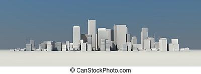 large, -, cityscape, modèle, ombre, 3d