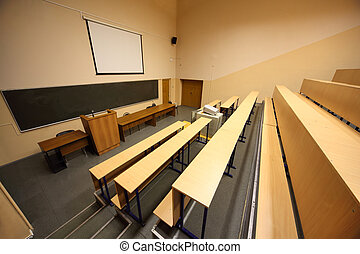 Large classroom, university lecture hall; big blackboard and...