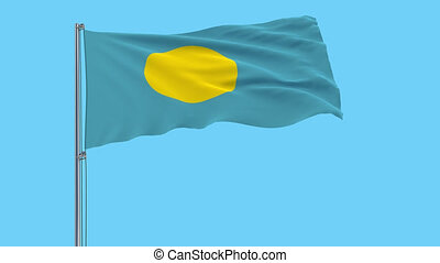 Large cloth flag of Palau on a flagpole fluttering in the wind on a transparent background, 3d rendering, 4k prores footage, alpha transparency
