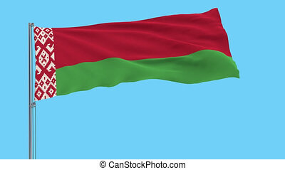 Large cloth Isolate flag of Belarus on a flagpole fluttering in the wind on a transparent background, 3d rendering, 4k prores footage, alpha transparency
