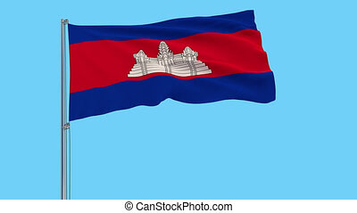 Large cloth Isolate flag of Cambodia, 4k prores footage,...