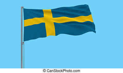 Large cloth Isolate flag of Sweden on a flagpole fluttering in the wind on a transparent background, 3d rendering, 4k prores footage, alpha transparency