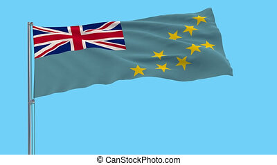 Large cloth isolate flag of Tuvalu on a flagpole fluttering in the wind on a transparent background, 3d rendering, 4k prores footage, alpha transparency