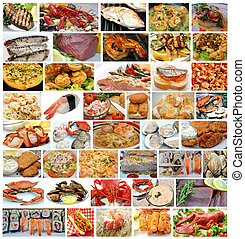 Collage of Fresh Seafood