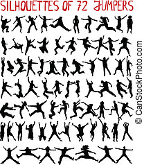 large collection - 72 profiles of people jumping
