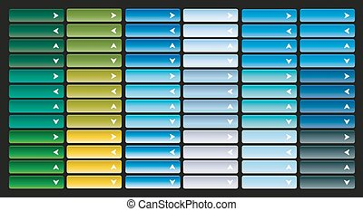Large collection of bright web buttons with arrow. Combination of all primary colors. Pointer to the left, right, up, down, open, close, next, previous.