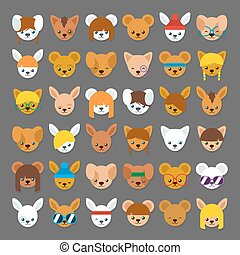 Large collection of cartoon animal head avatars