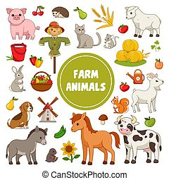 Large collection of colorful Farm Animal icons