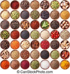large collection of different spices and herbs isolated on...