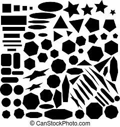 large collection of geometric abstract monochrome design elements