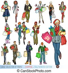 Large collection of people with shopping bags - Big set of...