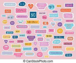 Large collection of tags for a fashion planner