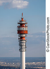 Large Communication tower against sky