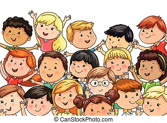 Large company joyful children different nationalities
