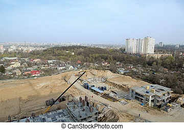 Large construcion site of a new residential complex.