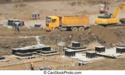Large construction area in summer