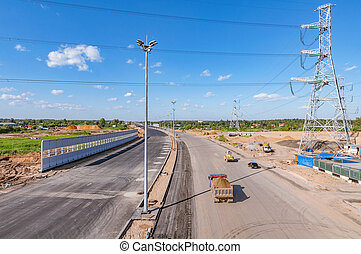 large, construction, highway., site