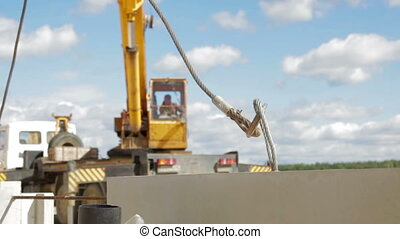 Mobile construction crane on wheels - Large construction of...