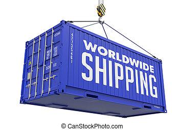 large, container., cargaison, -, expédition, pendre, mondiale, rouges