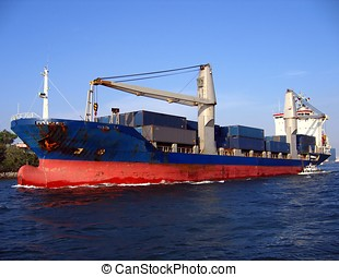 Large Container Ship - -- leaving Kaohsiung harbor