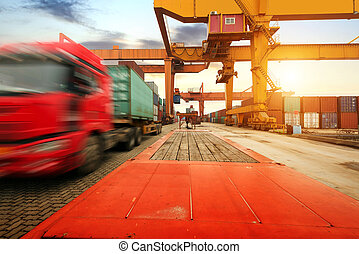 Large Container Terminal - Container operation in the port.