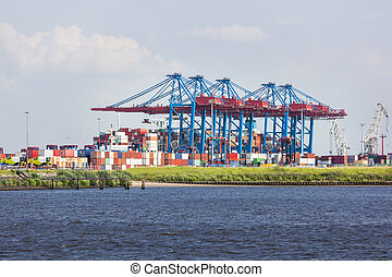Large Container Terminal in Hamburg, Germany