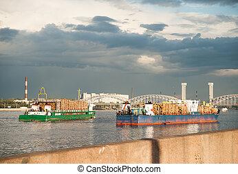 Large container vessel in Neva river in Saint-Petersburg, ...