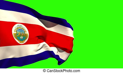 Large costa rica national flag blowing on green screen...