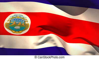 Large costa rica national flag waving filling the screen