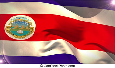 Large costa rica national flag waving with lens flare