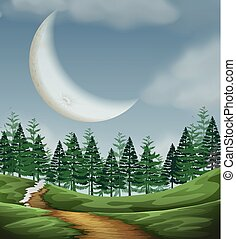 Large cresent moon nature scene illustration