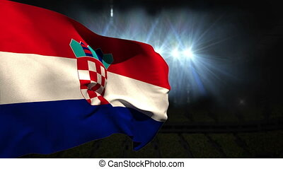 Large croatia national flag waving