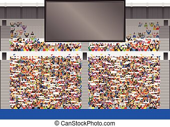 Large crowd in stadium grandstand - A large stadium...