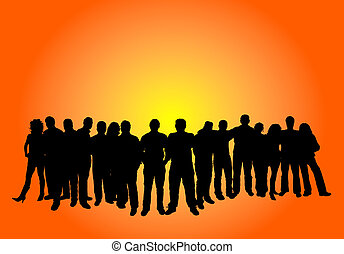 Silhouette of a large group of people
