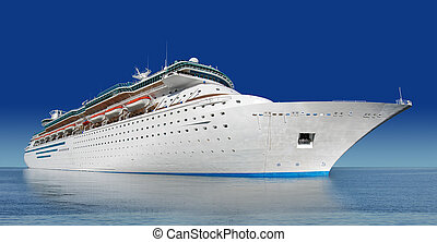 large cruise ship at an angle shot water level with blue sky