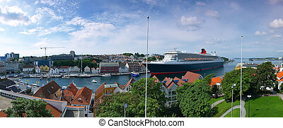 Large cruise ship in port - Large cruise ship docked at the...