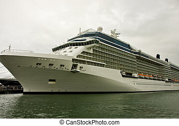 Large Cruise Ship on Cloudy Day