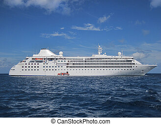 Large cruise ship - Cruise ship at anchor in the Caribbean...