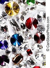 Large crystal strasses on a white background - macro photo -...