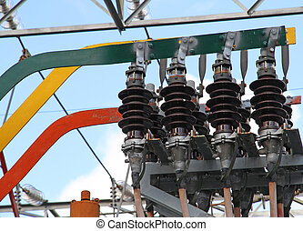 large current isolators with copper bars for electric power in a power plant