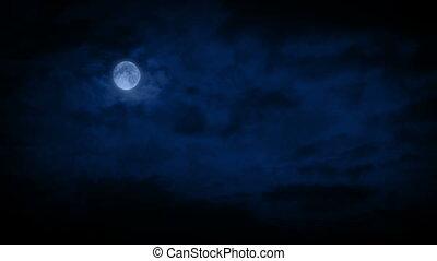 large, dépassement, nuages, coup, lune