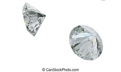 Large daimonds or gemstones flow slow motion seamless loop. Alpha