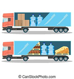 Large delivery truck with water bottles, cardboard boxes and food