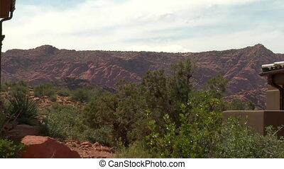 large desert home in red rock desert