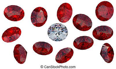 Large diamond among red rubies - Crystal diamond among red...
