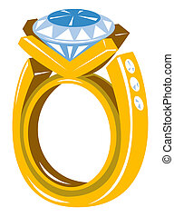 Illustration of a large diamond ring on a white background