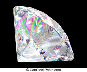 Large diamond with sparkles over black background