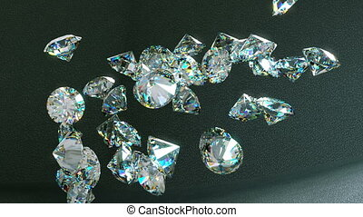 Large diamonds falling and rolling